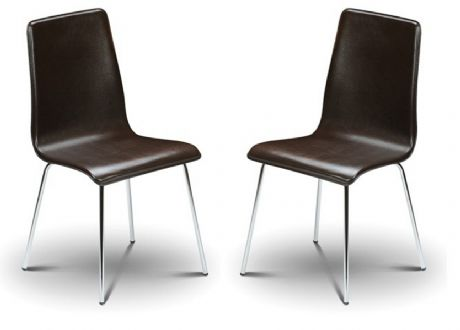 Madison Brown Faux Leather & Chrome Dining Chairs Sale Now On Your Price Furniture